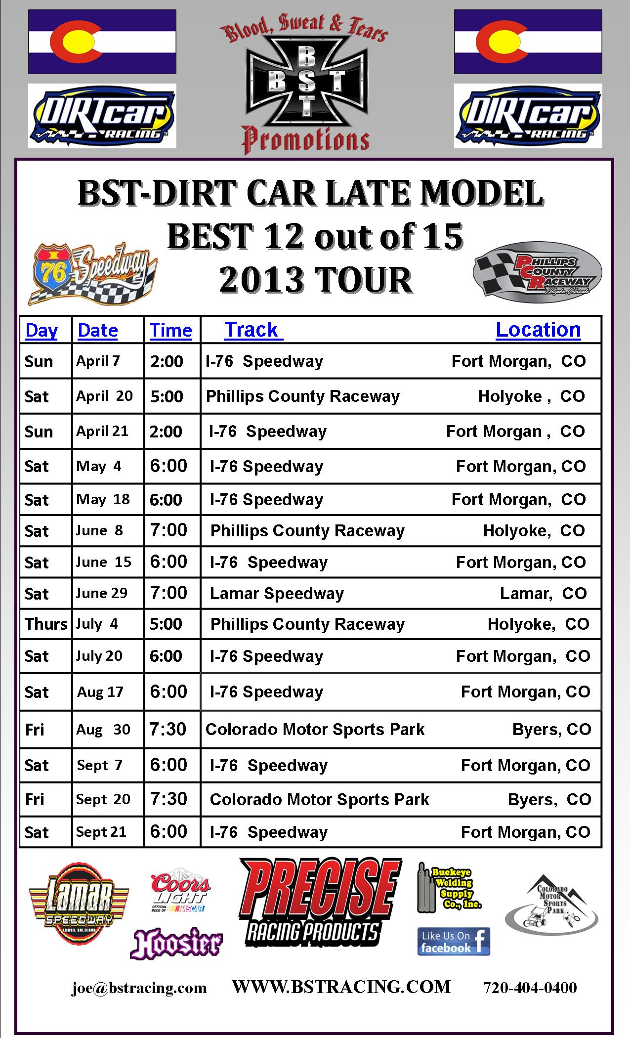 BST_Dirt Car Best_of_2013_Schedule