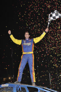 Matt Sheppard celebrates 358-Modified Series victory May 20 at Merrittville Speedway. (Photo credit: Alex and Helen Bruce Photography)