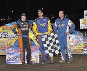 Top 3 in May 20 358-Modified Series race at Merrittville Speedway: 1. Matt Sheppard; 2. Danny Johnson; 3. Jimmy Phelps (Photo credit: Alex and Helen Bruce Photography)