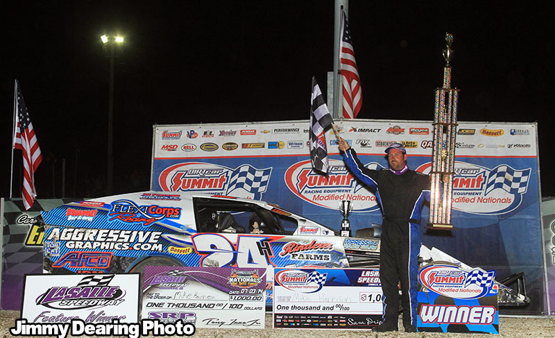 Harrison Rallies for Sixth Victory of 2014 DIRTcar Summit Racing Equipment Modified Nationals at LaSalle Speedway